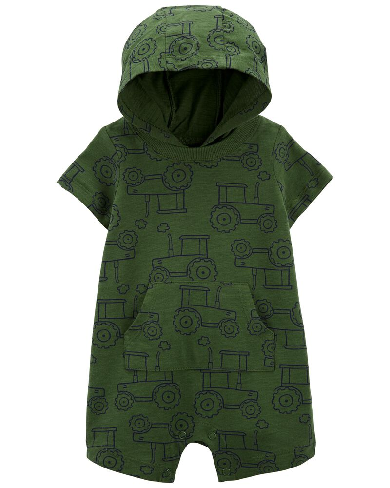 Hooded Cotton Romper, , hi-res
