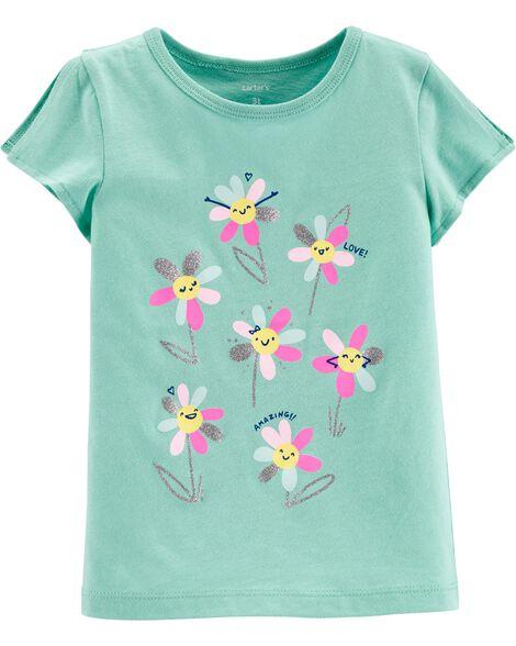 Glitter Flower Split Shoulder Jersey Tee