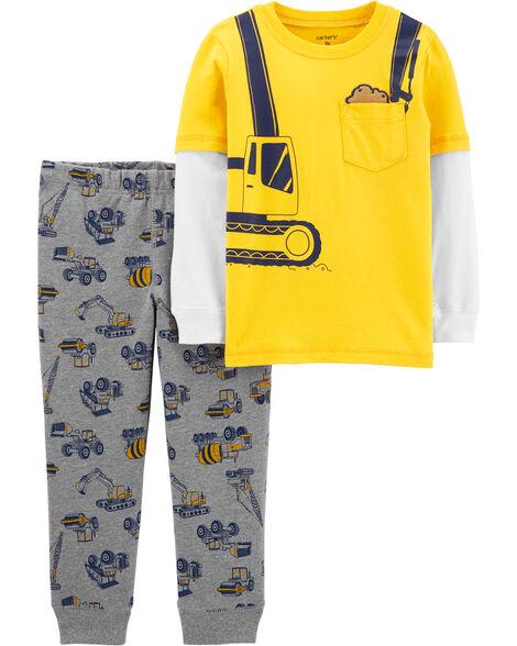 Ensemble 2 pièces t-shirt de style superposé motif construction et pantalon de jogging