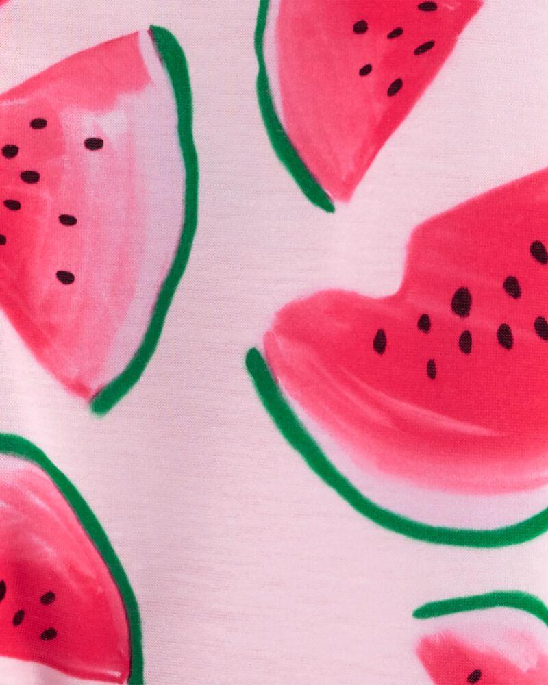 Pyjama 1 pièce de coupe ample à pieds motif melon d'eau, , hi-res