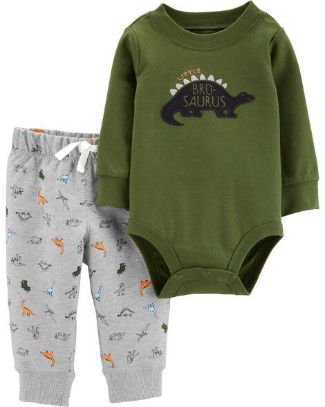 Ensemble 2 pièces cache-couche et pantalon à dinosaure
