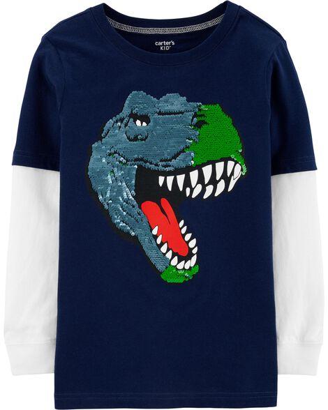 Flip Sequin T-Rex Layered-Look Tee