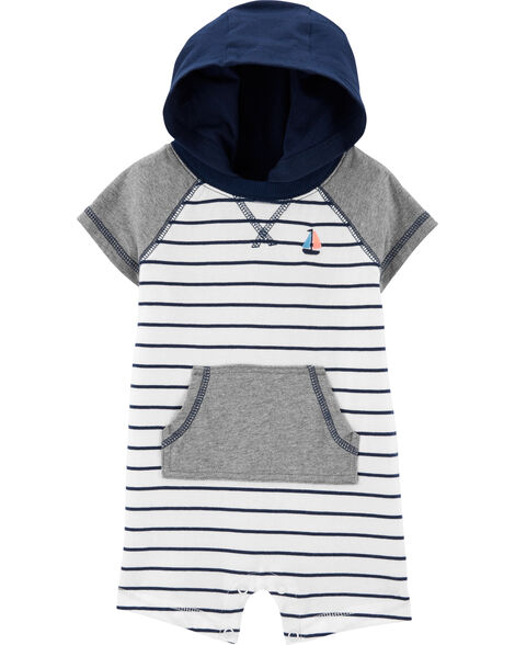 Striped Hooded Romper