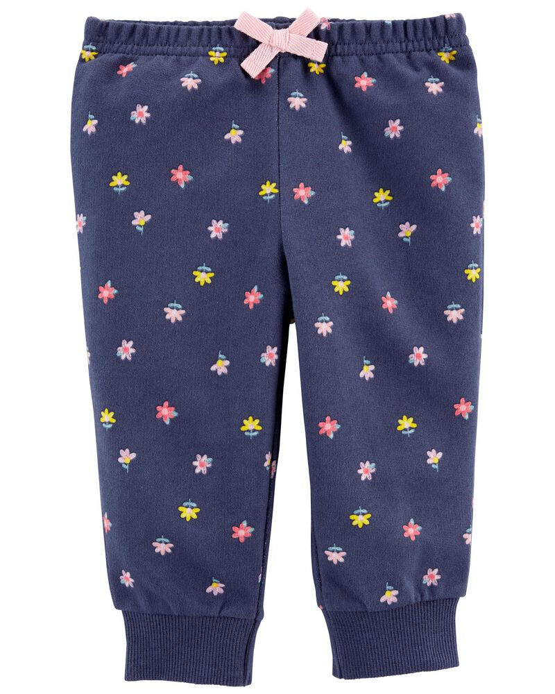 Floral Pull-On French Terry Pants, , hi-res