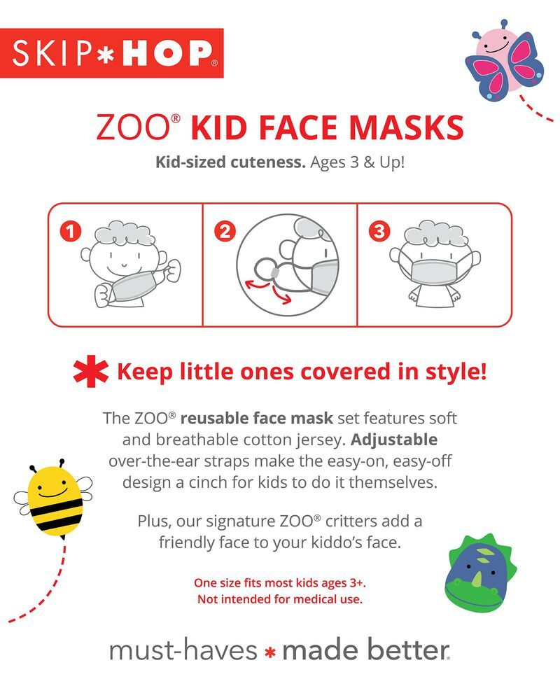 ZOO® Kids' Face Masks – Bee, , hi-res