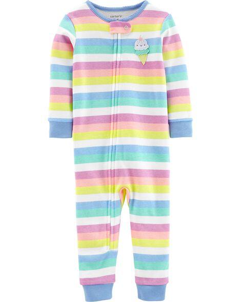 Pyjama 1 pièce sans pieds en coton ajusté motif cornet de crème glacée