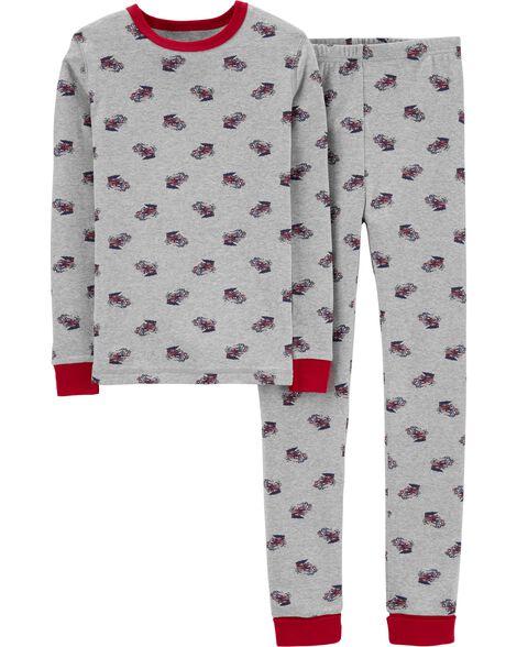 Pyjama 2 pièces en coton ajusté à camion d'incendie