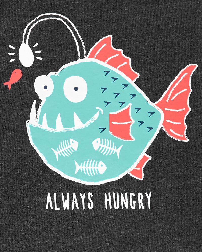 Ensemble 2 pièces t-shirt chiné à poisson et short en popeline, , hi-res