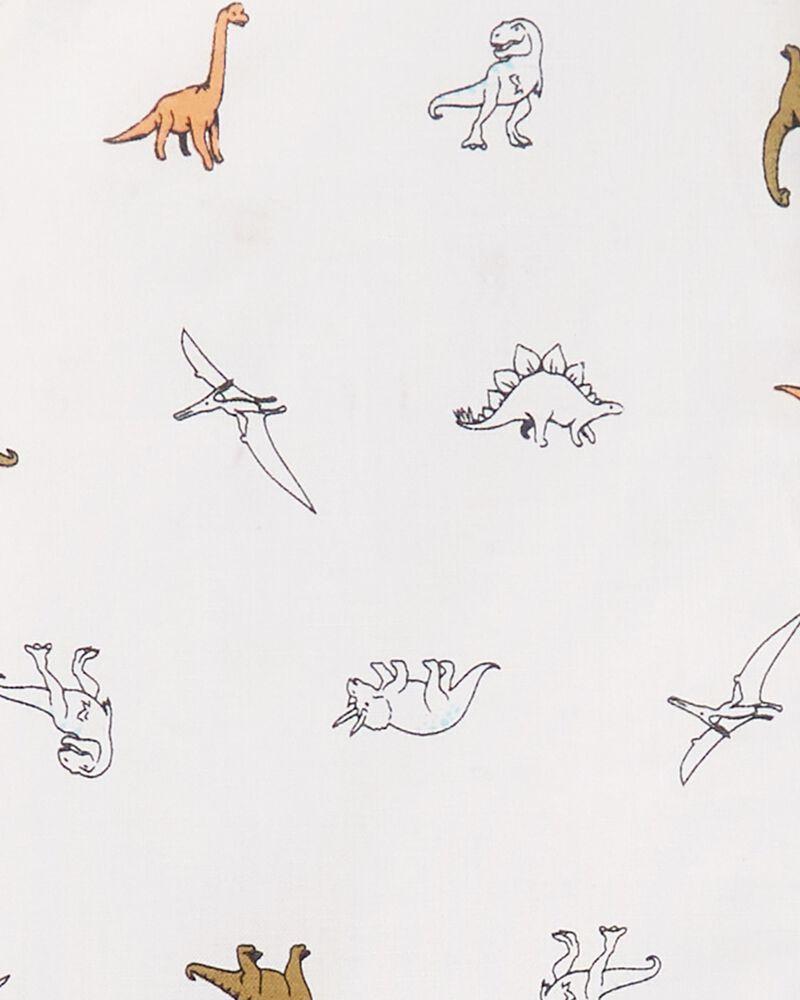 Ensemble 2 pièces haut boutonné à dinosaure et short en toile , , hi-res