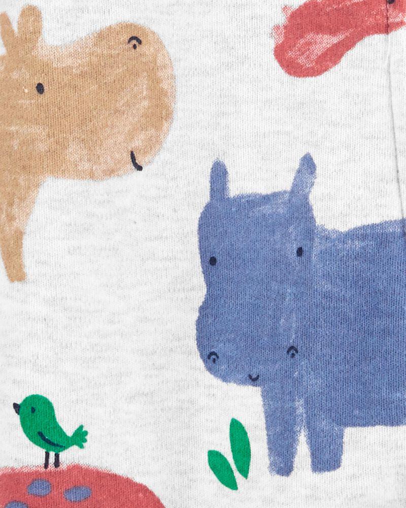 Grenouillère pour dormir et jouer en coton avec glissière 2 sens hippopotame, , hi-res