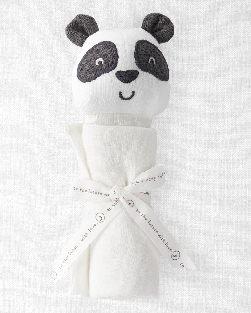 Doudou panda en mousseline de coton biologique, , hi-res