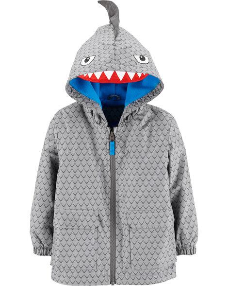 Fleece-Lined Shark Rain Jacket