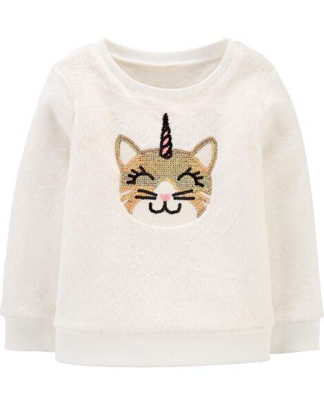 Sequin Unicorn Cat Fuzzy Sweater