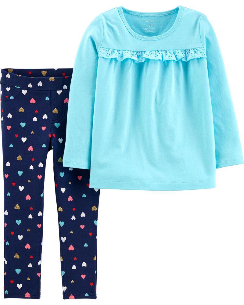 2-Piece Jersey Top & Heart Legging Set, , hi-res