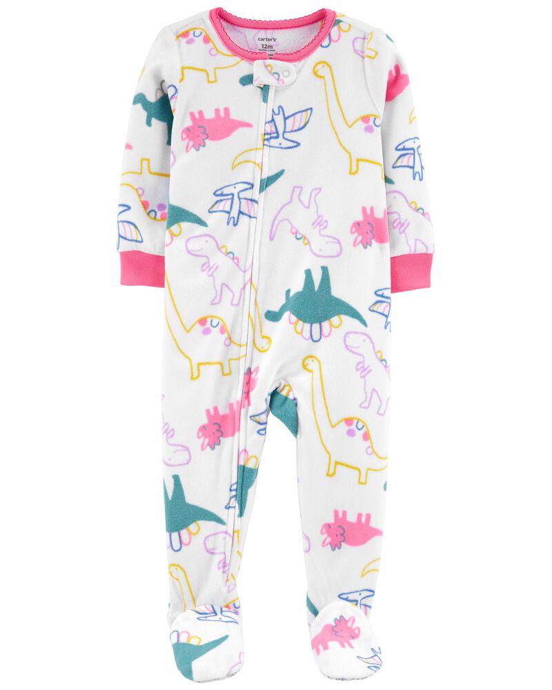 Pyjama 1 pièce en molleton avec pieds et motif dinosaure, , hi-res