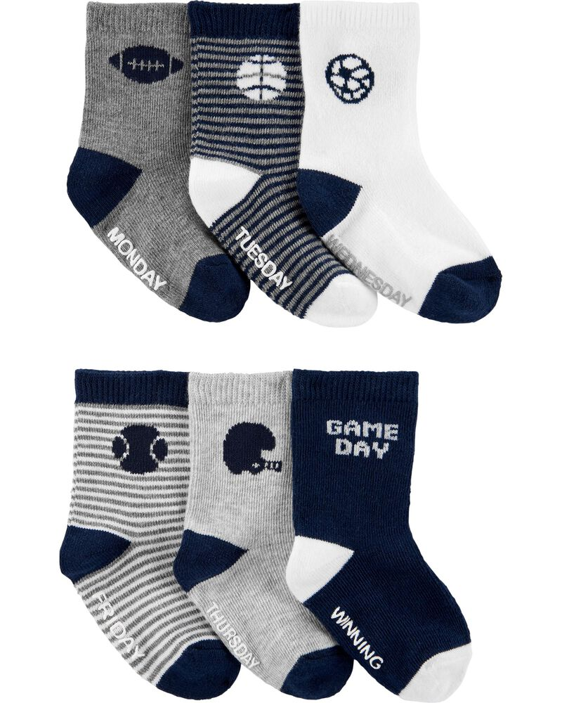 6-Pack Sports Crew Socks, , hi-res