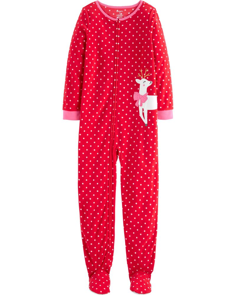 1-Piece Reindeer Fleece Footie PJs, , hi-res