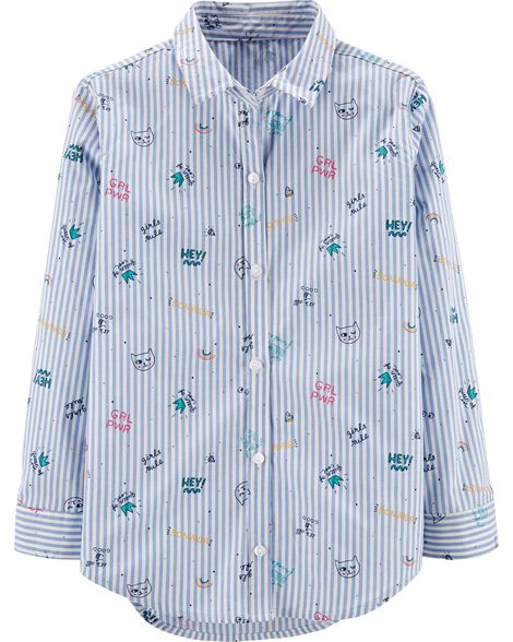Girl Power Striped Button-Front Shirt