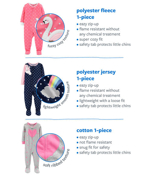 1-Piece Cat Fleece PJs