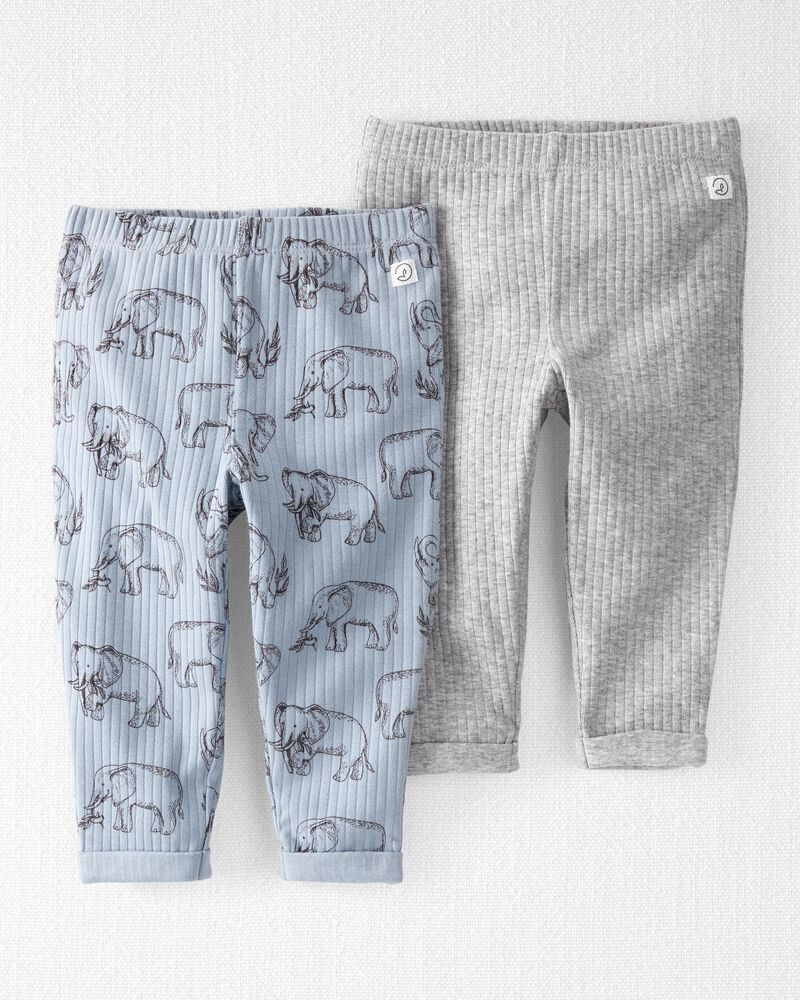 2-Pack Organic Cotton Rib Pants, , hi-res