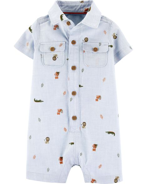 Animal Button-Front Cotton Romper