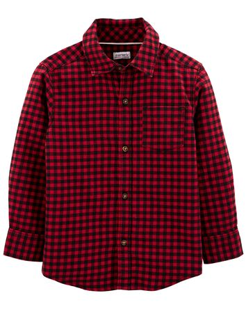 Plaid Twill Button-Front Shirt