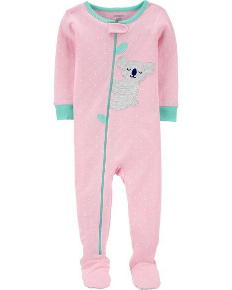 1-Piece Koala Snug Fit Cotton Footie PJs