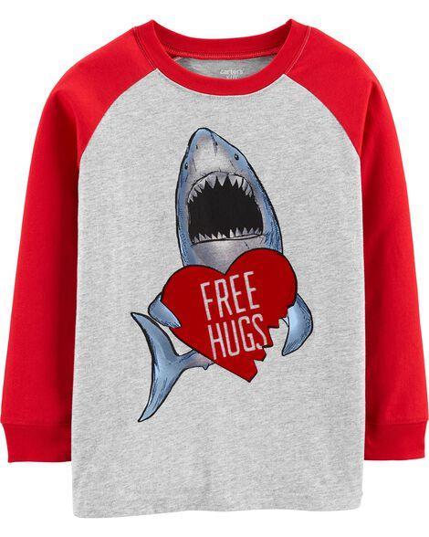 T-shirt raglan à requin de la Saint-Valentin