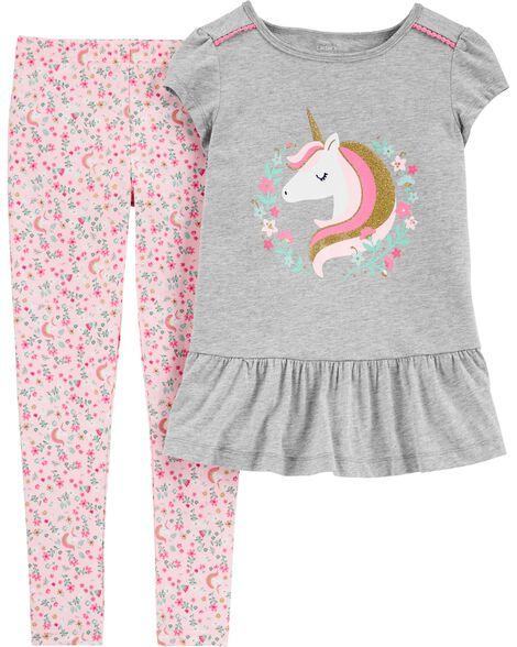 2-Piece Floral Unicorn Peplum Top & Legging Set