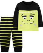 2-Piece Frankenstein Tee & Striped Pant Set, , hi-res