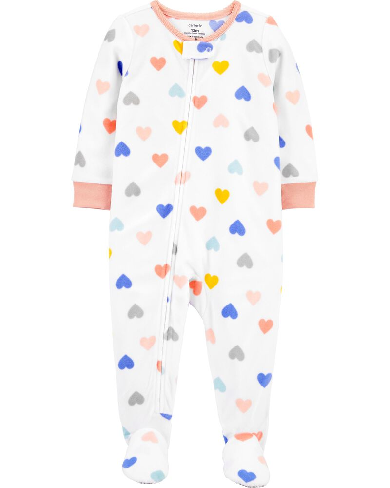 1-Piece Heart Fleece Footie PJs, , hi-res