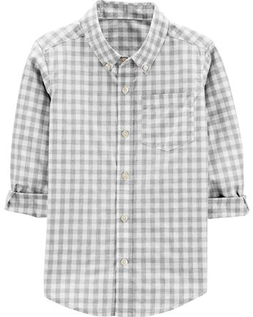 Checkered Poplin Button-Front Shirt