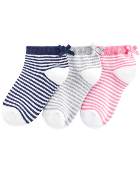 3-Pack Bow Stripe Ankle Socks