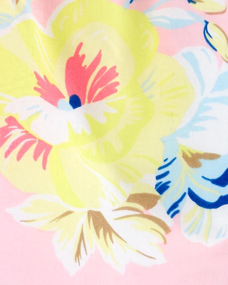2-Piece Floral Poplin Top & Striped Short Set, , hi-res