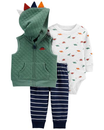 3-Piece Dinosaur Little Vest Set