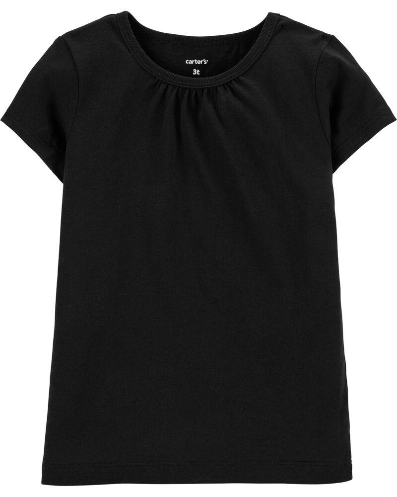 T-shirt en coton noir, , hi-res