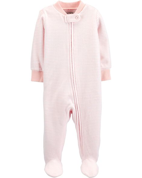 Striped Zip-Up Velour Sleep & Play