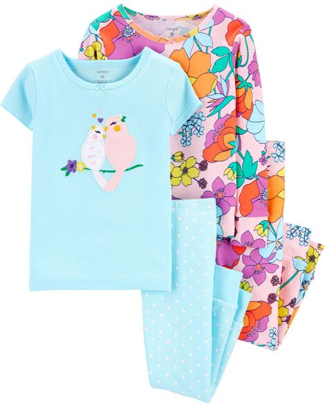 4-Piece Tropical Snug Fit Cotton PJs