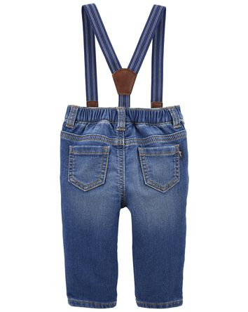 Knit Denim Suspender Pants