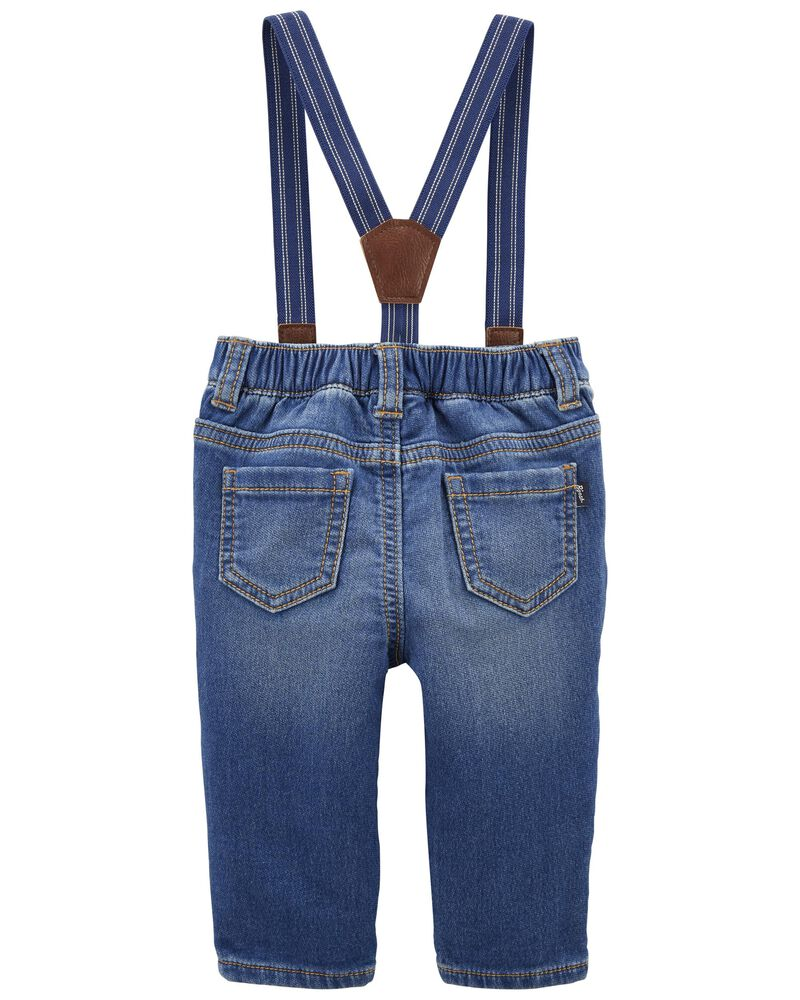 Knit Denim Suspender Pants, , hi-res