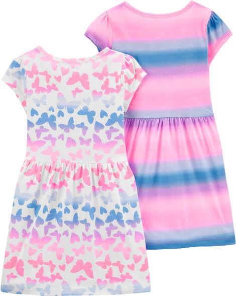 2-Pack Butterflies & Striped Jersey Dresses