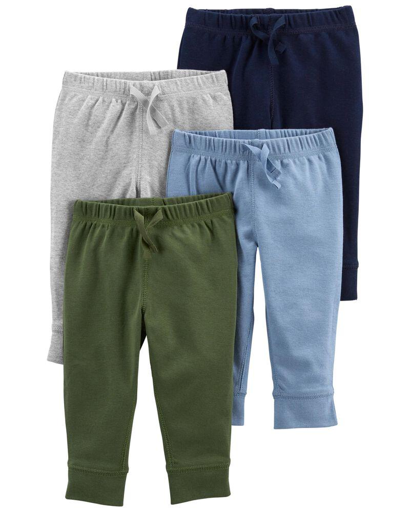 Emballage de 4 pantalons en coton à enfiler, , hi-res