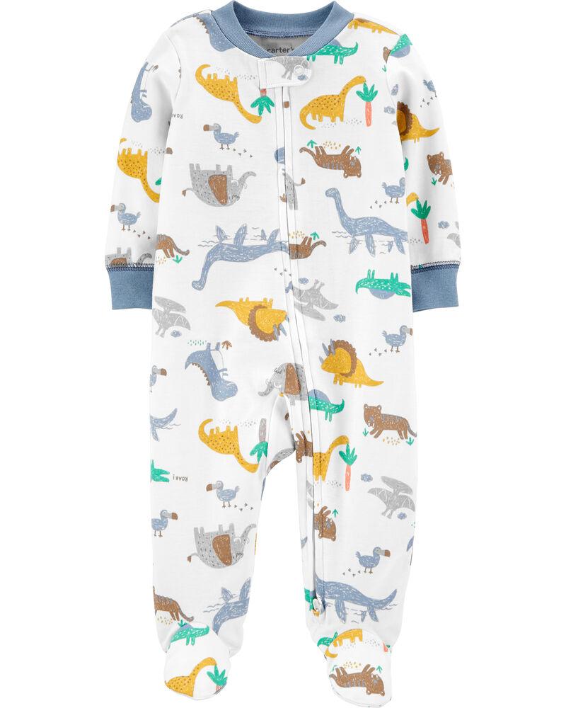 Grenouillère en coton pour dormir et jouer à glissière 2 sens et dinosaures, , hi-res