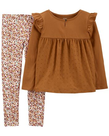 2-Piece Eyelet Jersey Top & Floral...