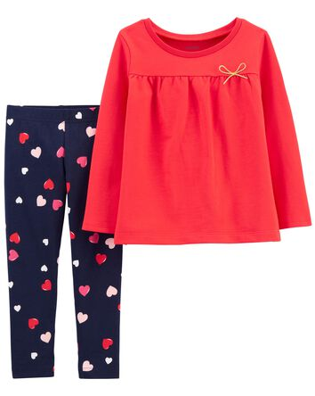 2-Pack French Terry Top & Heart Leg...