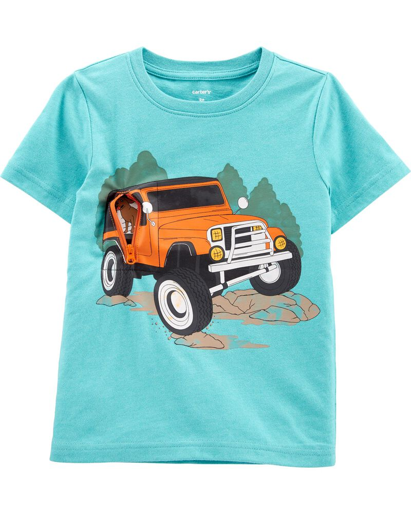 Car Peek-A-Boo Snow Yarn Tee, , hi-res