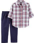Ensemble 2 pièces chemise boutonnée à motif écossais et pantalon en popeline, , hi-res
