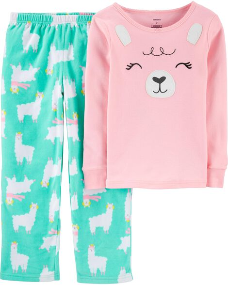 2-Piece Llama Snug Fit Cotton & Fleece PJs