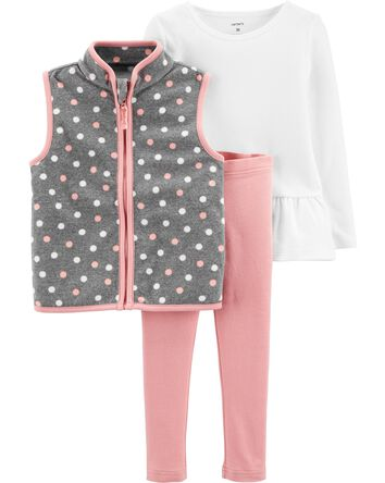 3-Piece Polka Dot Fleece Vest Set