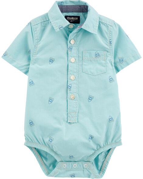 Shark Short Sleeve Button-Front Bodysuit